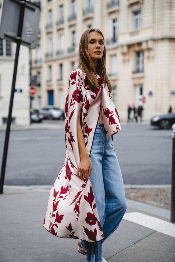 2019 sokak modası kimono ceket kombinleri