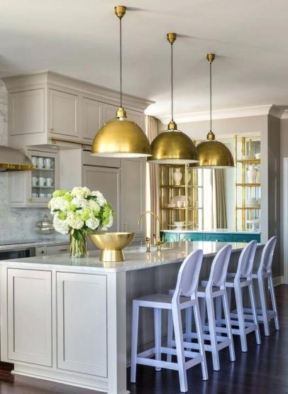 Altın rengi ev dekorasyon örnekleri - aydınlatmalar