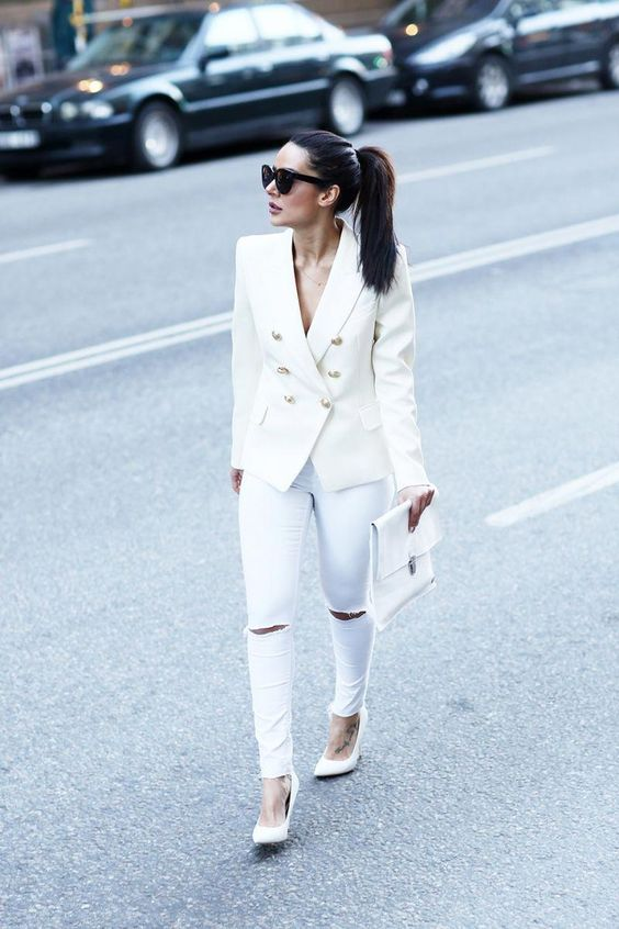 Baştan ayağa beyaz blazer ceket kombini 2019