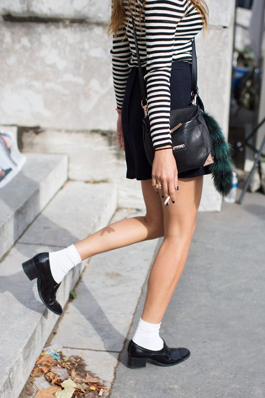Beyaz çorap oxford ayakkabı stili 2019