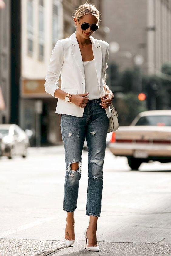 Boyfirend jean beyaz blazer kombini 2019