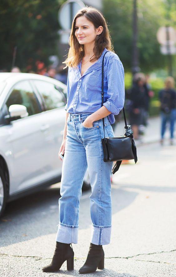 Çizgili gömlek jean sokak stili 2019