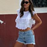 Dantelli bluz jean şort sokak stili