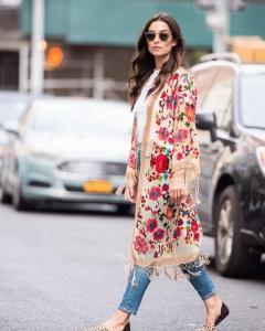 İlkbahar yaz çiçek desenli kimono ceketler 2019