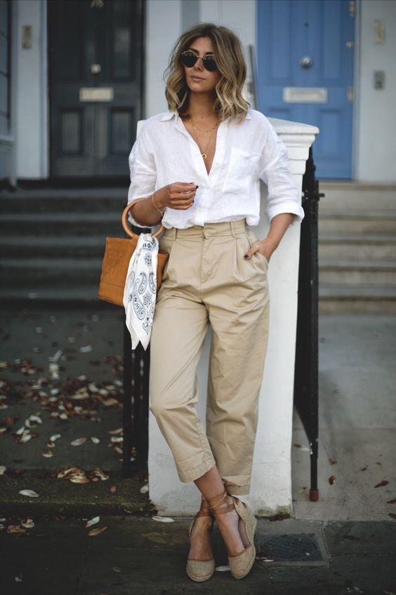 ilkbahar yaz yüksek bel pantolon kombinleri 2019