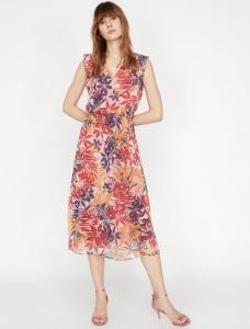 Koton turuncu çiçek desenli elbise fiyatı ₺89,99