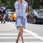Sokak modası gömlek elbise kombinleri 2019
