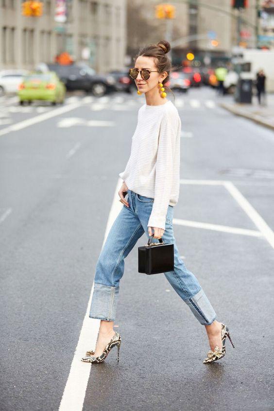 Sokak modası katlanmış paça jean trendi 2019
