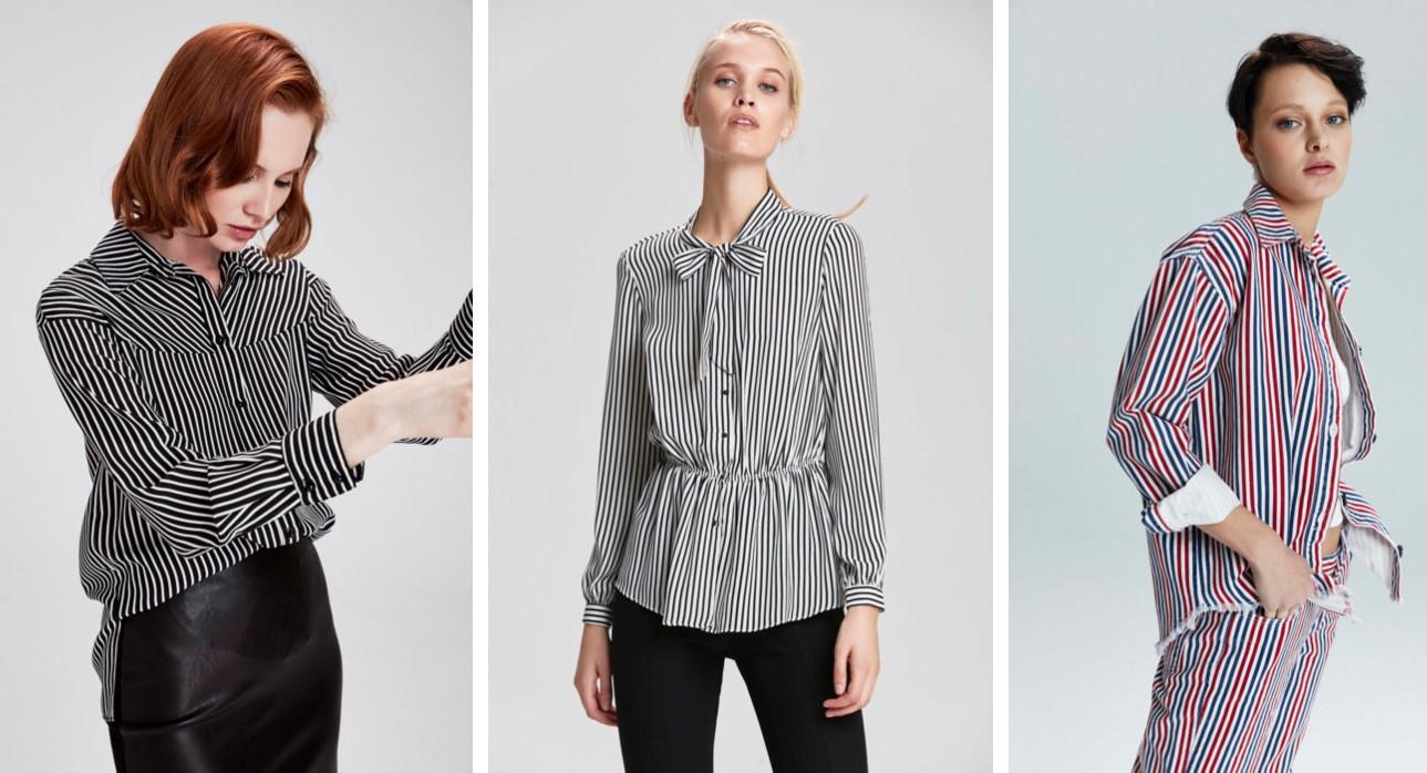 Adil ışık 2019 çizgili kadın gömlek modelleri