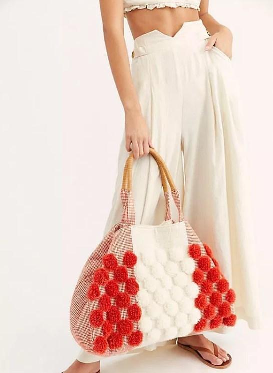 ilkbahar yaz ponponlu çanta modeli 2019