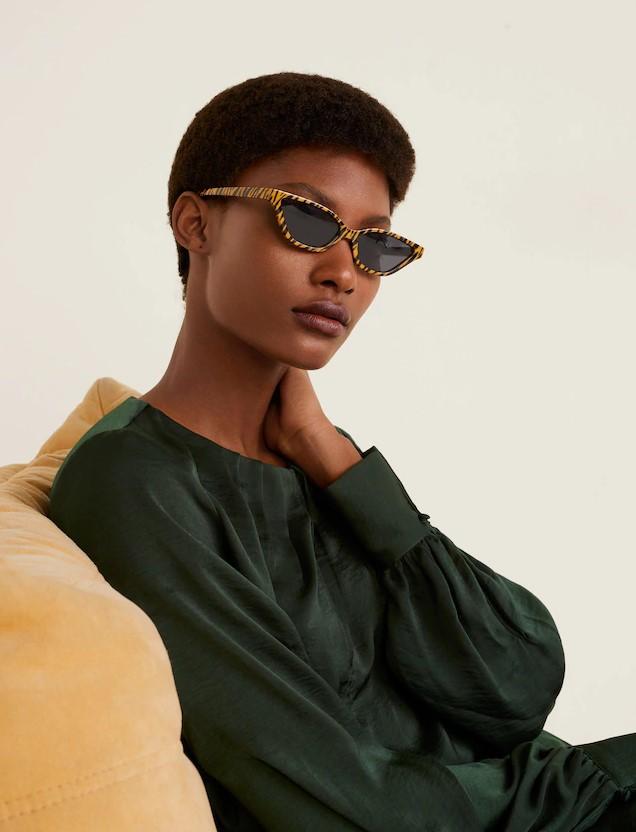 Kaplan desenli kadın güneş gözlüğü Mango