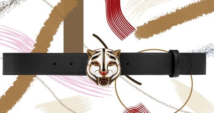Kedi Başlı Gucci Deri Kemer