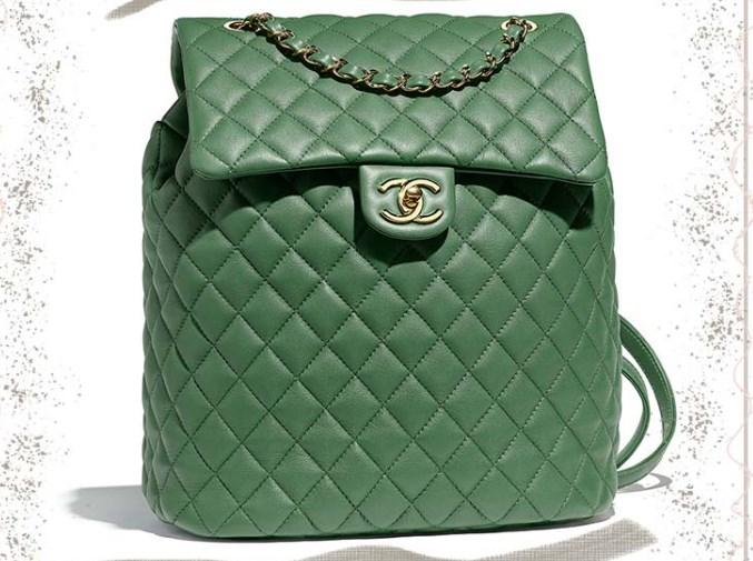 Yeşil Dana Derisi Flap Chanel Sırt Çantası