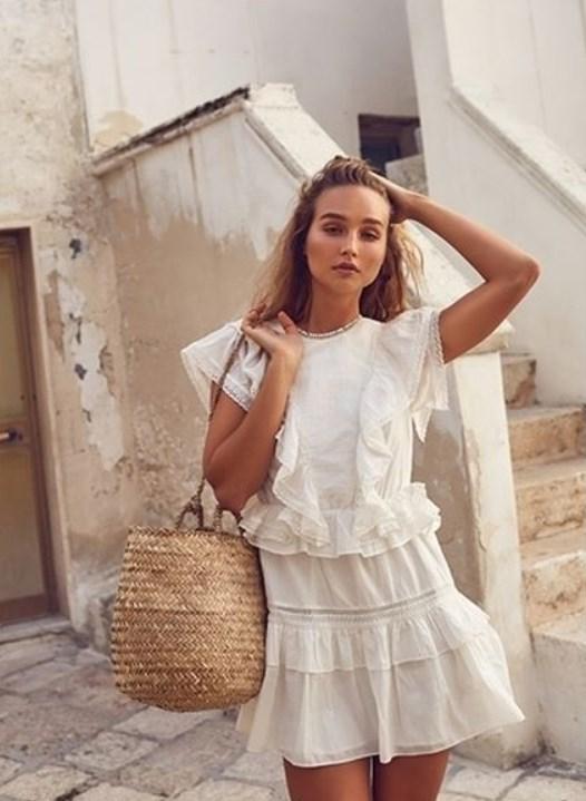 günlük beyaz elbiseler 2019