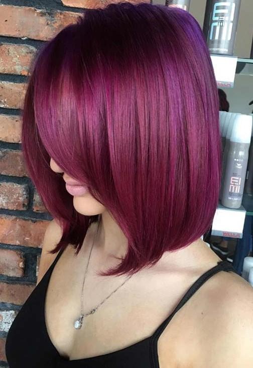 patlıcan rengi saç modelleri 2019