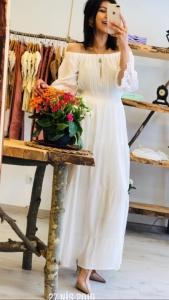 yazlık uzun beyaz elbiseler 2019
