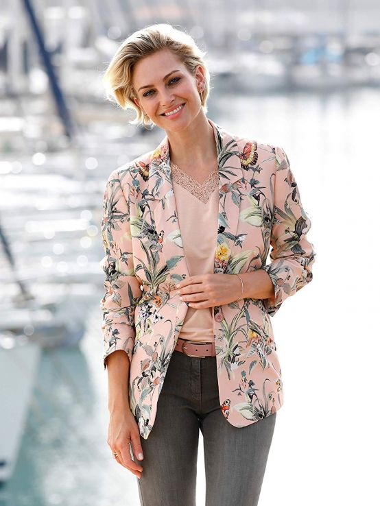 çiçek desenli blazer ceket 2019 20