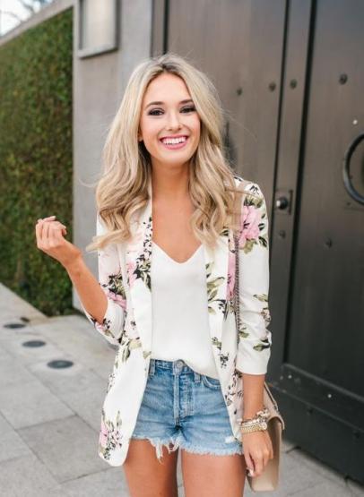 yazlık çiçek desenli blazer ceketler 2020