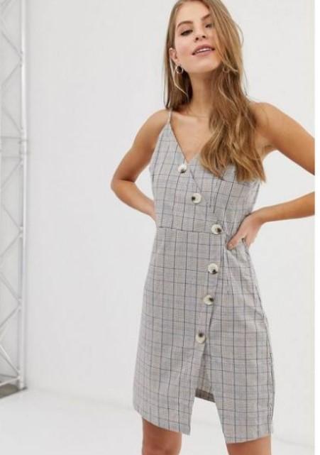 yazlık ekose desen elbiseler 2020