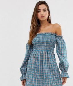 yazlık kareli elbise