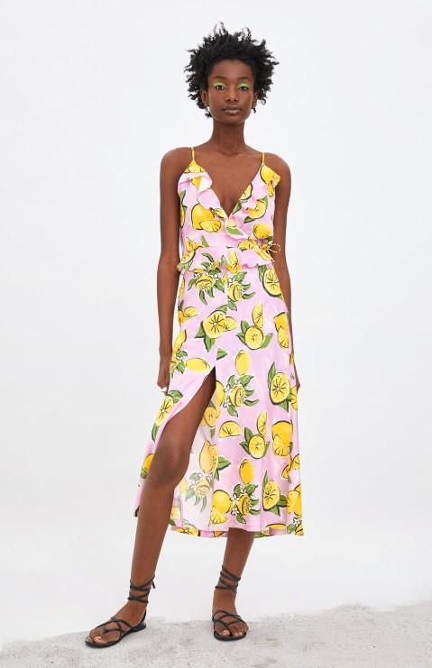 yazlık zara limon desenli etek modeli