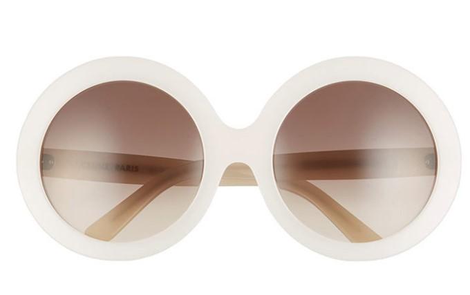 Yuvarlak Beyaz büyük Boy Güneş Gözlüğü