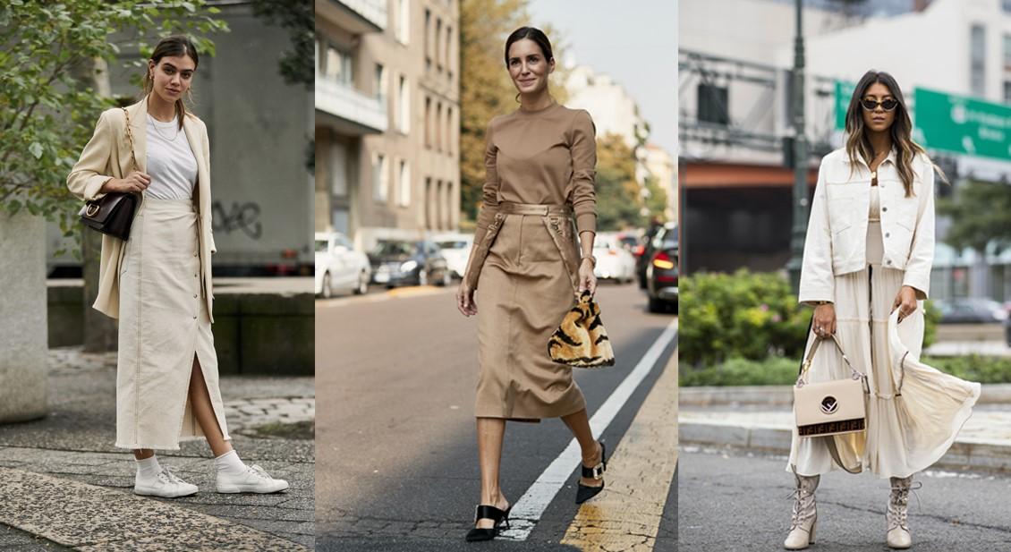 bej renk ile sokak modası etek kombinleri 2020