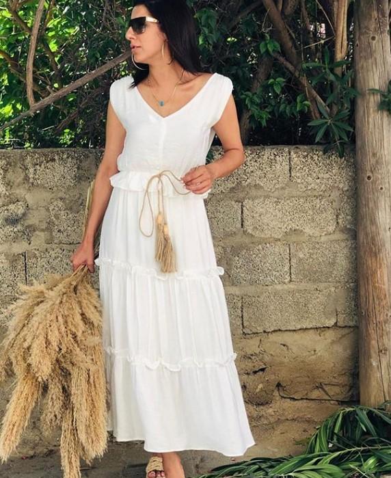 yazlık beyaz elbise modeli