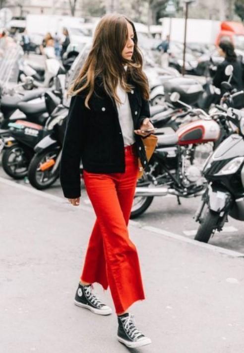 kırmızı pantolon kombinleri 2019 2020