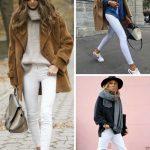 Kışlık sokak stilleri beyaz jean kombin önerileri 2019 - 2020