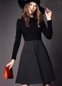 kışlık-elbise-füme-siyah-etek-şapka-kadın-kırmızı