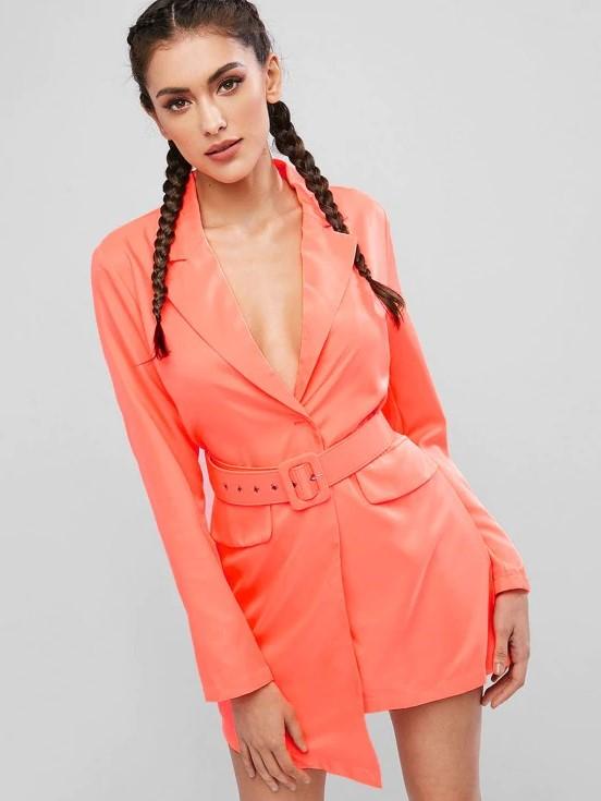 Kemerli neon rengi blazer elbise 2020