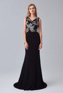 Siyah İllüzyon Yaka Payetli Uzun Abiye Elbise 2020