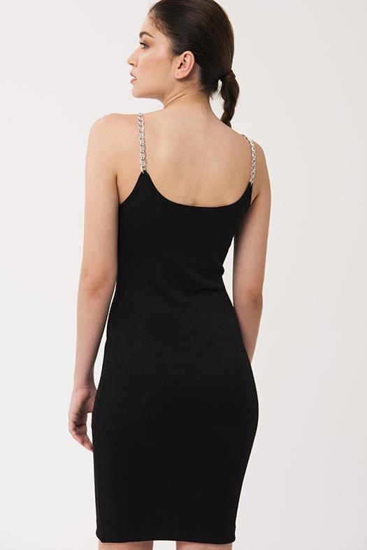 Siyah zincir askılı elbise 2020