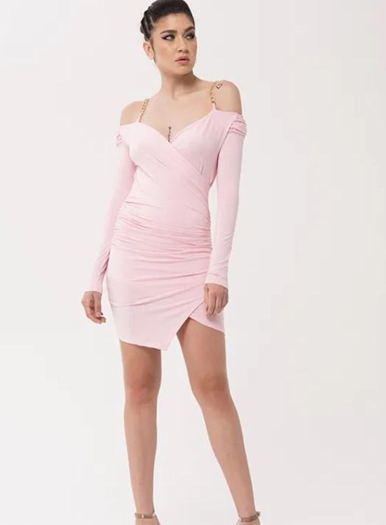 Zincir detaylı asimetrik elbise 2020