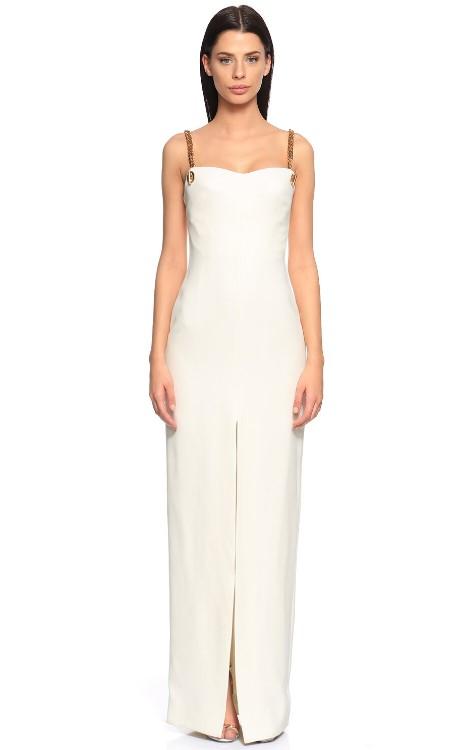 Zincir detaylı beyaz uzun elbise 2020