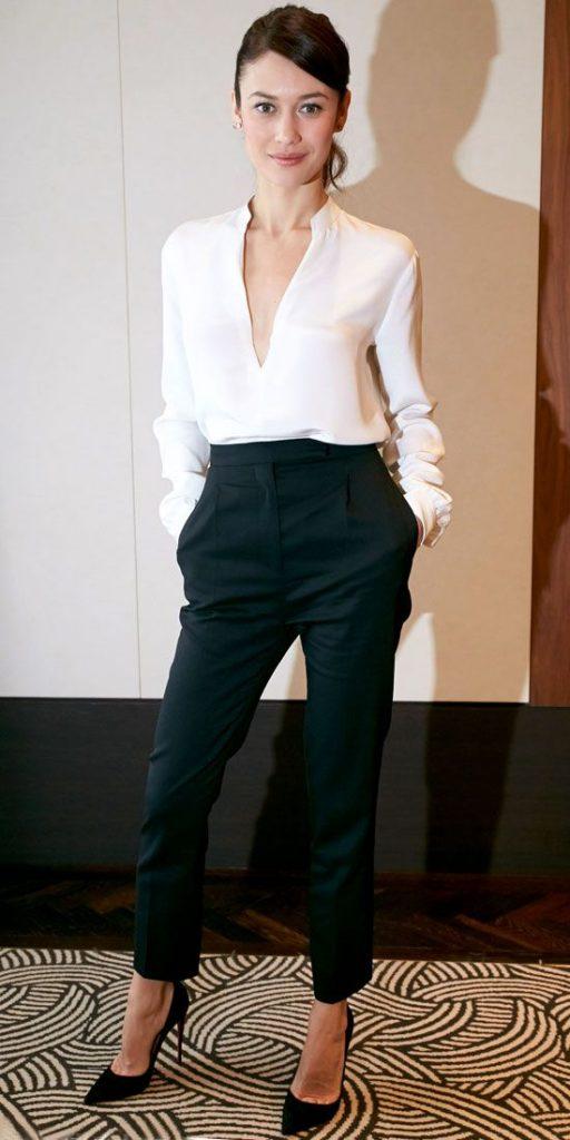 Siyah Kısa Paça Pantolon Ofis Kombini
